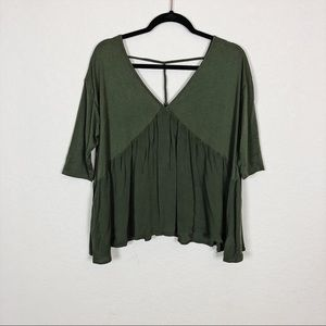Altar'd State   army green flowy top